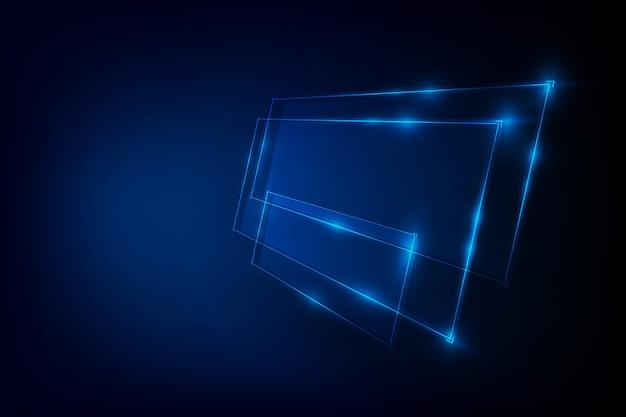 Абстрактный фон с синим неоновым баннером