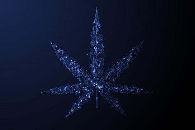 Лист марихуаны. низкополигональная синий