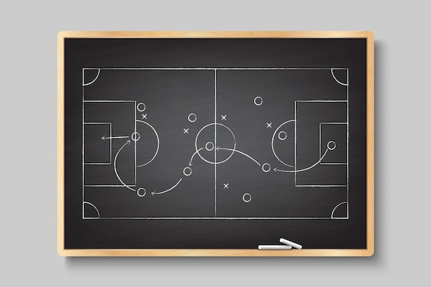 手描きのサッカーゲームの戦略をチョークします。