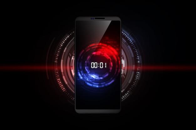 デジタル数字タイマーのコンセプトとスマートフォン、未来的な抽象的な技術の背景のカウントダウン、