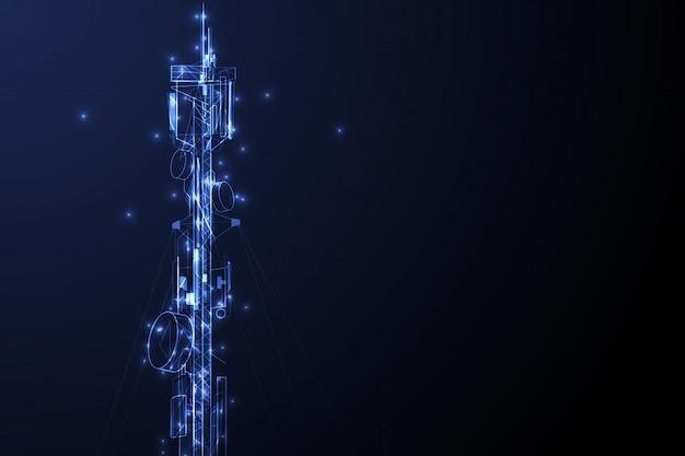 Антенна передачи связи башня векторный фон концепции