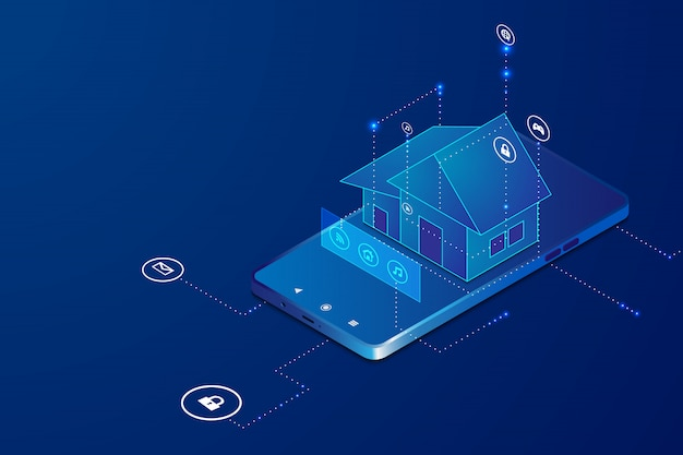 Изометрический умный дом с беспроводным управлением