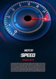 高速スピードメーターの車でバナースピードモーション背景。