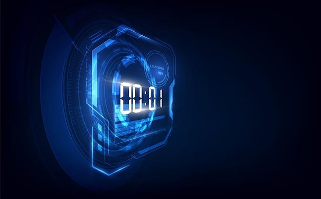 Абстрактный футуристический фон технологии с цифровым таймером и обратным отсчетом