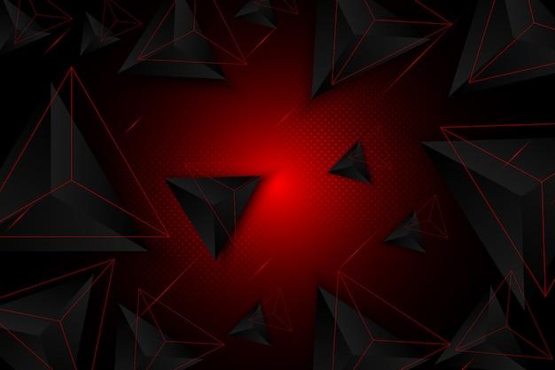 背景の赤い三角形と黒、抽象的な幾何学的な背景、現代