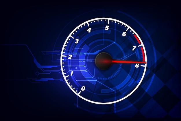 高速スピードメーター車でスピードモーションバックグラウンド。レース速度