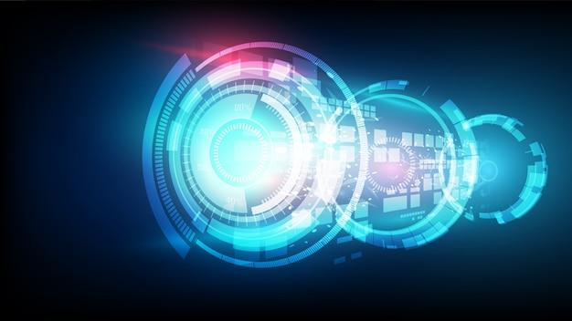抽象的な未来的な青い接続高デジタル技術の概念