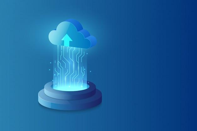 Абстрактные облачные технологии системы научно-фантастический фон
