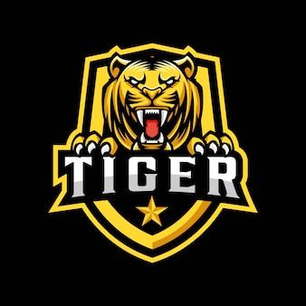 Тигр талисман дизайн логотипа