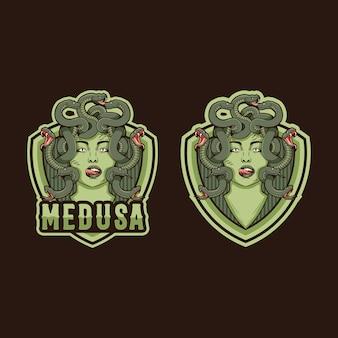 メデューサのマスコットのロゴデザイン