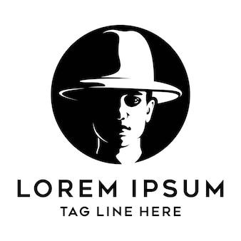 Шаблон логотипа молодой ковбой