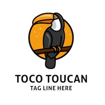 鳥オオハシのロゴデザインベクトル印刷