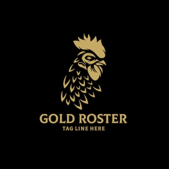 ゴールドロスターのロゴデザインベクトルテンプレート