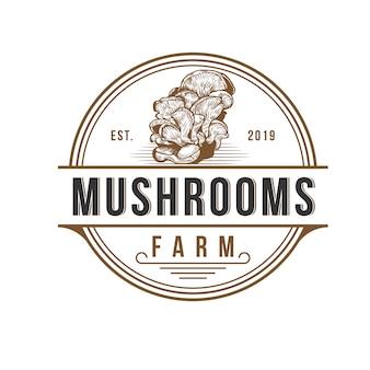 キノコ農場のロゴデザインベクトルテンプレート