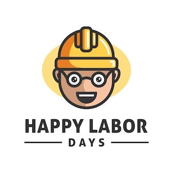 幸せな労働者の日のロゴデザインベクトルテンプレート