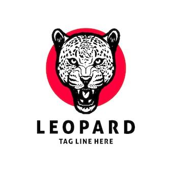 ヒョウのロゴデザインベクトルテンプレート