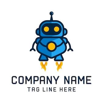 ロボットのロゴデザインベクトルテンプレート