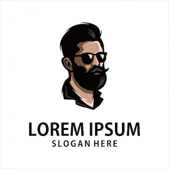 Крутой борода человек логотип