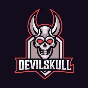 悪魔の頭蓋骨マスコットスポーツロゴ