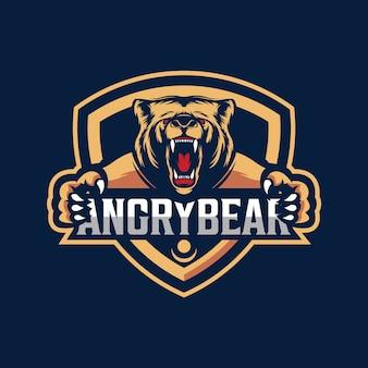 怒っているクマのマスコットのロゴデザイン