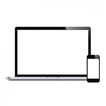 Ноутбук и дизайн мобильного телефона