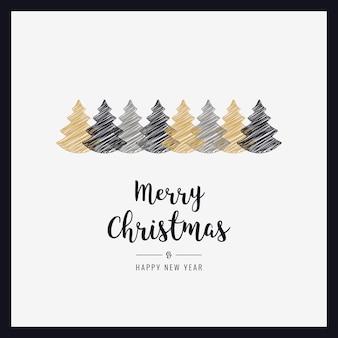 Рождественская открытка деревья каракули рисунок приветствие кадра карты