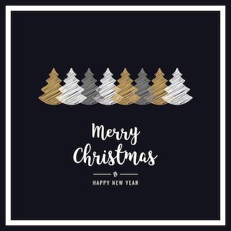 Рождественская открытка с черными рамками
