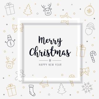 Рождественская открытка значок элементы золотой черный текст приветствие тень кадр фон