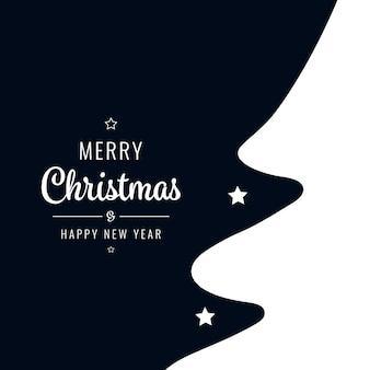クリスマスツリーシルエット星白い挨拶テキストの背景