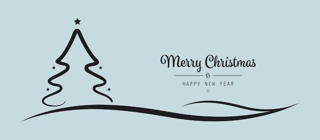 クリスマスツリーの星レタリングの挨拶青い背景