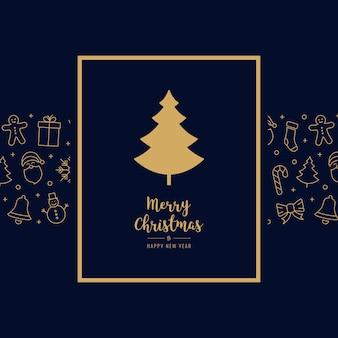 Рождественская елка значок карты элементы золотой текст приветствие кадр синий фон
