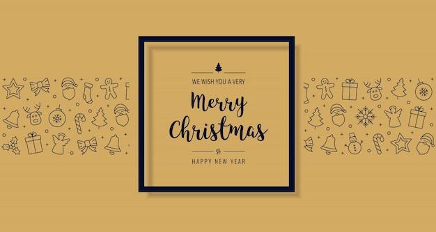 Рождественская открытка значок элементы текст приветствие черный кадр золотой фон