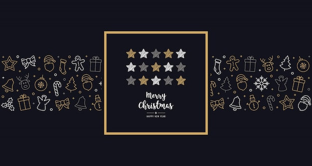 Рождественские каракули звезды карты значок элементы текст приветствие кадр золотой синий фон