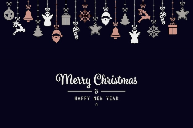 Розовые золотые рождественские поздравления элементы орнамента