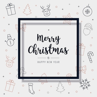 クリスマスアイコン要素カード挨拶テキストフレーム
