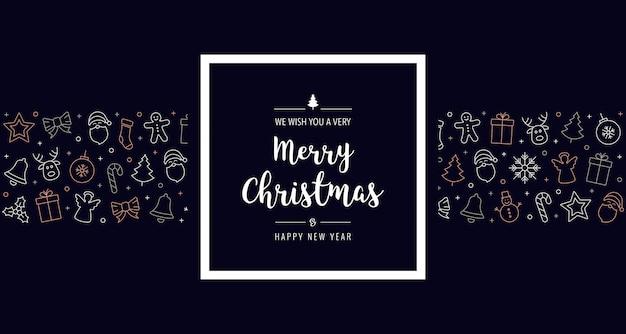 Рождественские иконки элементы рамка приветствие баннер фон