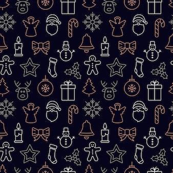 Рождественский значок бесшовные шаблон