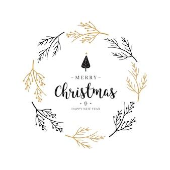 メリークリスマスの挨拶の花輪