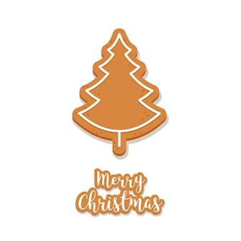 ジンジャーブレッドの木のクッキークリスマスの挨拶は、背景を隔離