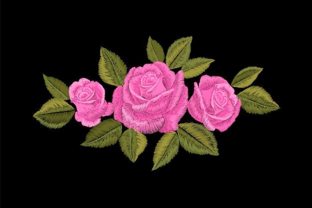刺繍のピンクのバラ。ファッションパッチ装飾ステッカー。花刺繍オーナメント。伝統的な民族生地テキスタイルプリントイラスト
