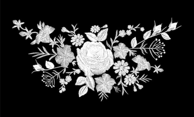 花のモノクロの白いバラ刺繍のネックラインの配置。ビンテージのビクトリア朝の花飾りファッション繊維装飾。黒のステッチテクスチャイラスト