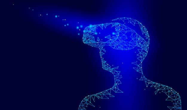 仮想現実ヘルメットガラスヘッドセット。将来のビデオインターネットテクノロジー。頭の上のデバイスを持つ男。低ポリ接続ドットポイントライン三角形ダークブルー