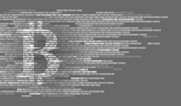Биткойн-цифровой криптовалютный знак двоичного кода, большие данные