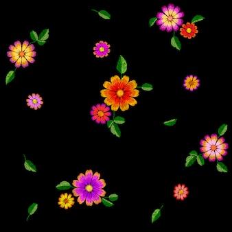 明るい花刺繍カラフルなシームレスパターン、ファッション装飾