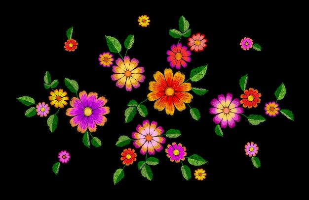 明るい花刺繍のカラフルなパッチ、ファッション装飾