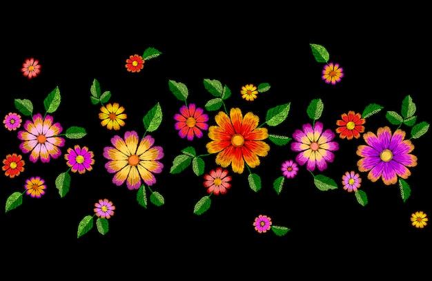 明るい花刺繍のカラフルなシームレスな境界線。