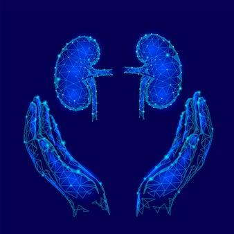 世界腎臓デーグリーティングカード低ポリデザインテンプレート、