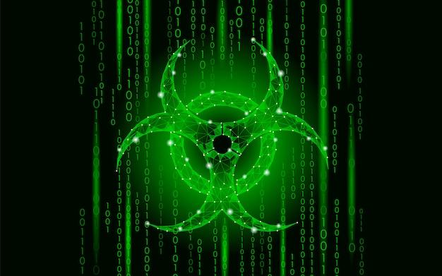 Опасность вирусной атаки на компьютерные сети, данные предупреждения о биологической опасности знака эпидемии