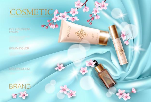 Сакура цветок косметический рекламный плакат шаблон. розовые лепестки