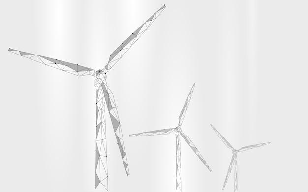 風力発電機の低ポリの抽象的な背景。エコロジーグリーンエネルギー電力を節約